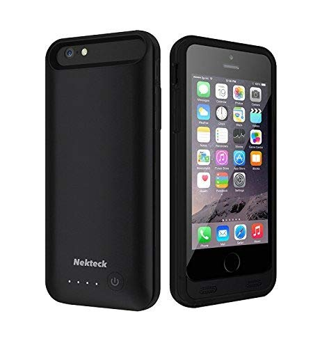 Nekteck Battery Case 4000mAh Compatible iPhone 6 Plus / 6S Plus Battery Case External Protective Charger Charging Case Backup Pack Cover Juice Bank – Black