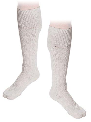 Trachten Socken Kniebundstrümpfe Weiß Trachtenoutfit Baumwollsocken (42/43, Weiß)