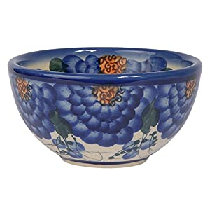 Traditional Polish Pottery, Handcrafted Ceramic Snack & Dip or Salad Bowl d.10cm, 200ml, Boleslawiec Style Pattern, M.700.Arts