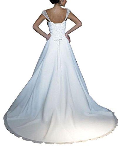 Sleeves Perlen GEORGE Capped Brautkleid Elfenbein Kapelle Hochzeitskleider Satin Brautkleider BRIDE Zug q4xtwaxB