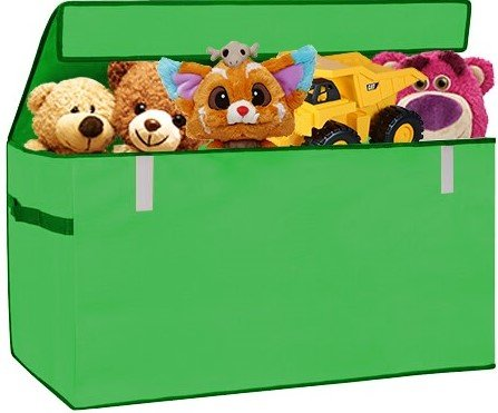Green Jumbo Bin - XXL Toy Chest Organizer Flip-Top LID Jumbo Toys Organizer Box Collapsible Cloth Baskets Foldable Large Nursery Bins Gifts Storage Cubes Laundry Space Saver Green, PRORIGHTY