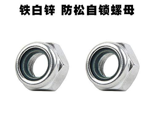 Ochoos 500pcs M8/10/12/14/16/20 DIN982/985 Hexagon Nuts Swith Nonmetallic Insert Zinc Clear Carbon Steel Nylon Self-Locking Stop Nuts - (Size: M20)