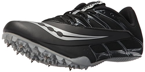 Saucony Men's Spitfire 4 Track and Field Shoe, Black/Silver, 11.5 Medium US