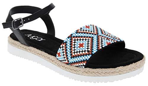 (Sugar Women's Yvie Platform Sandal with Espadrille, Beeded Aztec Detail, and Slingback Buckle Closure 6.5 Black Aztec)