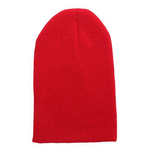 Gorros Warm Sombrero Punto Beanie WanYang Unisex Hiphop de Rojo Caps Crochet Grueso Invierno p1wxxH58q