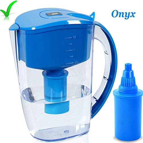 High PH Alkaline Water Filter Pitcher, Alkaline Water Ionizer, Alkaline Water Maker 3.5 Liter, Unique Multi-Stage Filtration BPA Free, Long Lasting Filter, Onyx High PH Alkaline Water