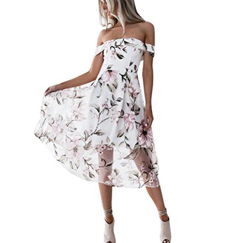 Beach Dress,Agrintol Women Summer Off Shoulder Floral Printed Long Maxi Dress