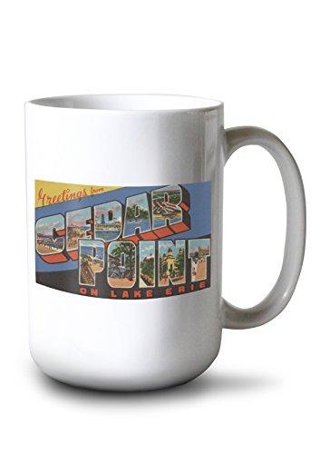 (Lantern Press Greetings from Cedar Point, Sandusky, Ohio - Lake Erie - Vintage Halftone (15oz White Ceramic Mug))