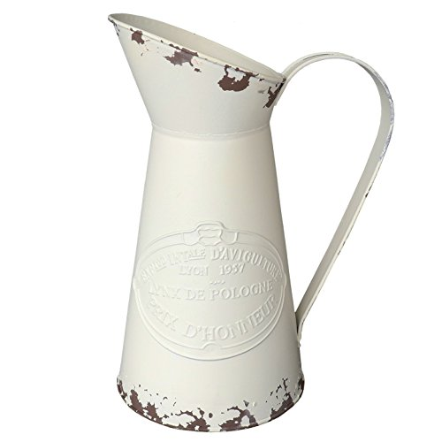e Metal Pitcher Decorative Flower Vase Primitive Jug Cream ()