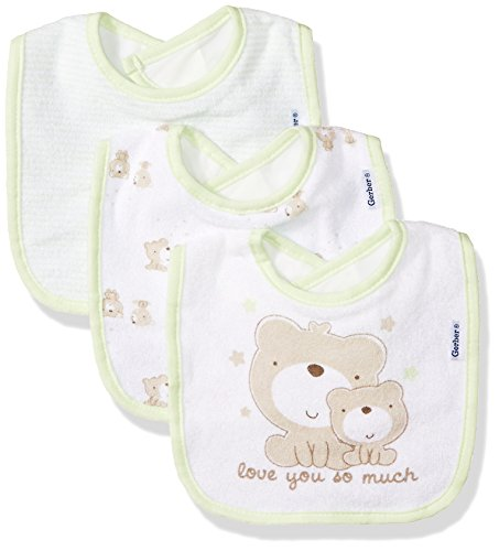 Gerber Baby 3-Pack Dribbler Bib, Teddy Bear, One Size -