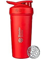 BlenderBottle Strada Shaker Cup isolerad rostfritt stål vattenflaska med trådvisp, 680 g, röd