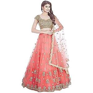 PD Fashion Women's Net Semi-Stitched Lehenga Choli (Multicolored_Free Size)