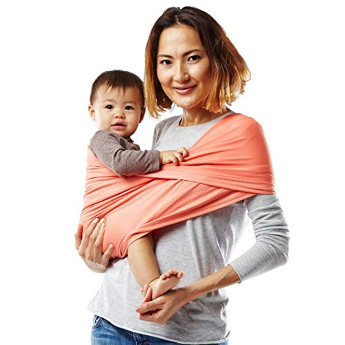 Baby K'tan Active Baby Wrap Carrier, Infant and Child Sling - Simple Wrap Holder for Babywearing - No Rings or Buckles - Carry Newborn up to 35 Pound, Coral, Medium (Women 10-14 / Men 39-42)