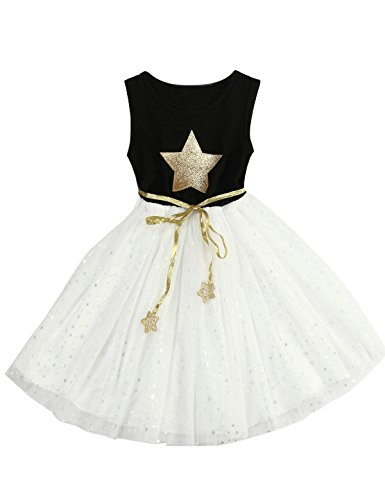 Girls Black White Christmas Dress - 1