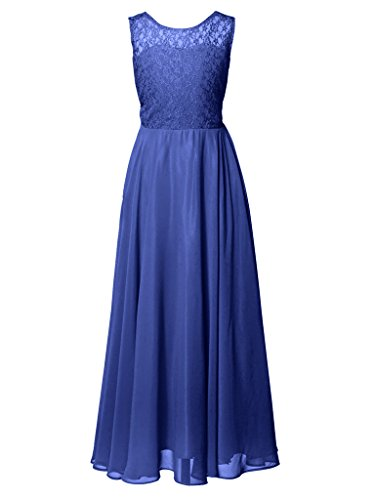 FAIRY COUPLE Big Girl's Illusion Neckline Lace Chiffon Wedding Party Dress K0208 Size 12 Navy Blue