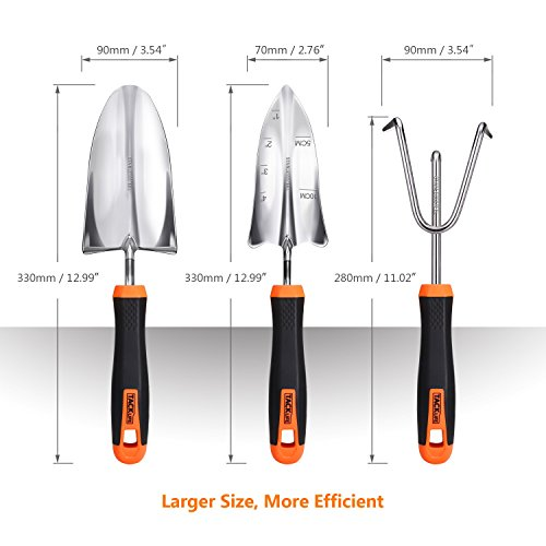 TACKLIFE Garden Tool Set, 3 Piece Stainless Steel Heavy Duty Gardening Kit with Soft Rubberized Non-Slip Handle - Trowel, Transplant Trowel and Cultivator Hand Rake - Garden Gifts for Parents丨GGT1A by TACKLIFE (Image #1)