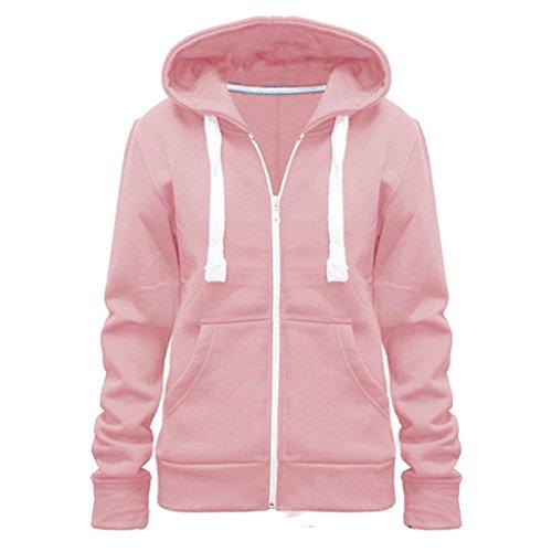 Vainilla Inc© nuevas señoras para mujer chaqueta con capucha para cremallera sudadera con capucha Tallas Top UK tamaño 8–�?8 rosa pastel