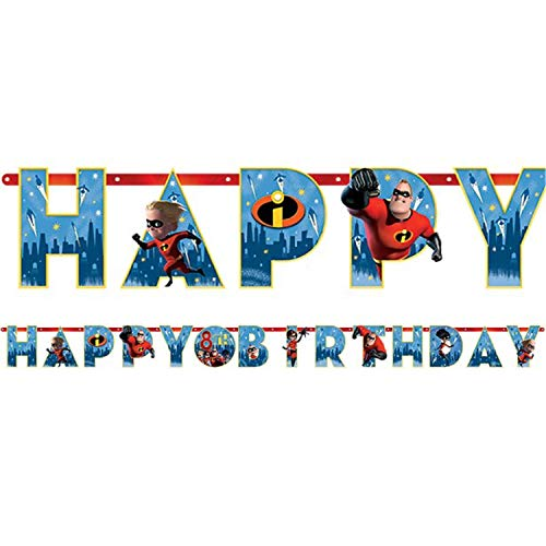 Boys Girls Childrens Disney Pixar Incredibles 2 Film Happy Birthday Personalised Banner Party Celebration Decorations Tableware Accessories ()