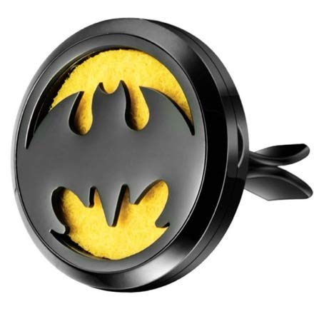 mEssentials Black Chrome Bat Aromatherapy Car Air Freshener Essential Oil Car Vent Diffuser With Vent Clip and 9 Color Refill Pads