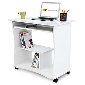 COMIFORT T03B – Escritorio con Bandeja extraíble e Estante, Mesa de Ordenador con Ruedas, 80x48x76 cm (Blanco)