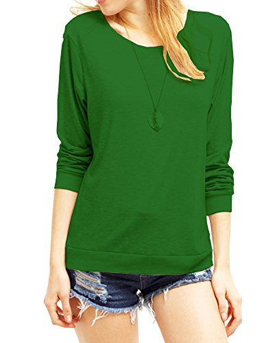 Haola Women's Long Sleeve Tops Round Neck Casual Teen Girls Tees Loose T Shirts XXL (Round Neck Long Sleeve Top)
