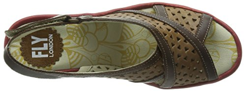 FLY London Yopp647fly - Sandalias Mujer Marrón - Brown (Camel/Dark Brown/Red)