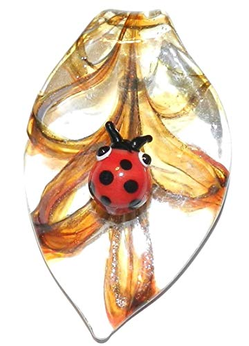 Bead Jewelry Making Ladybug Golden Yellow Sparkle Swirl 58mm Leaf Drop Lampwork Glass ()