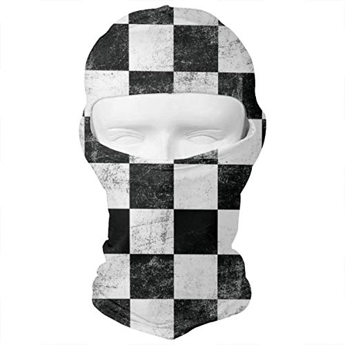 (WD&rain Checkerbord Plaid Pattern Balaclava Face Mask Headwear Helmet Liner Gear Full Face Mask Hood Motorcycle Mask)