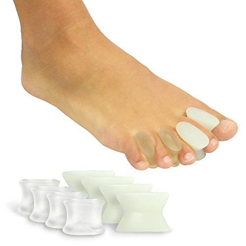 Toe Spreaders by Vive (8 PIECES) Gel Spacers Straighten Overlapping Toes - Silicone Stretchers For Yoga, Toe Alignment & Bunions