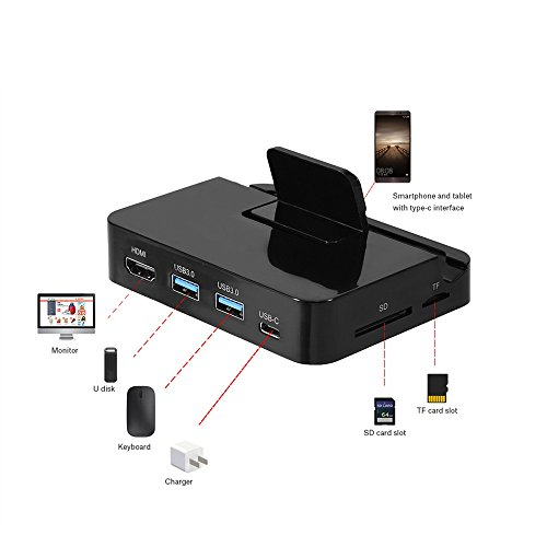 Type-C to HDMI 4K Dock Charging Station USB3.0 Hub SD / TF Card Reader Support PD