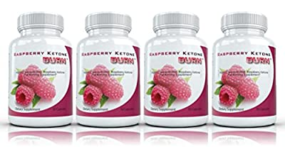 Raspberry Ketone Burn (4 Bottles) - Highly Concentrated Raspberry Ketones Fat Burner Supplement. The New Best All Natural Weight Loss Diet Formula. 500mg