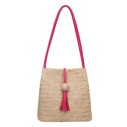 Summer Women Durable Weave Straw Beach Bag Feminine Woven Bucket Bag Grass Casual Tote Handbags Knitting Rattan Bags,Hot Pink
