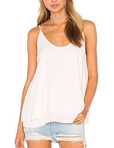 Dohia Women's Summer Chiffon Layered Cami Tank Tops Loose Fit Casual Blouses C2714(XL, White)