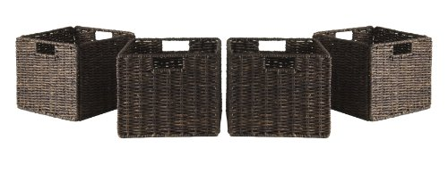 Winsome Granville Foldable 4-Pc Small Corn Husk Baskets, Chocolate (Shopping Retail Wicker Baskets)