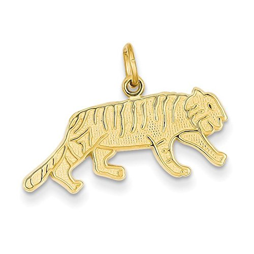 14K Yellow Gold Tiger Charm - (0.75 in x 0.98 in) (Tiger 14k Yellow Gold)