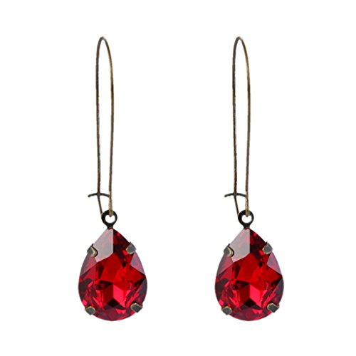 (EVER FAITH Women's Austrian Crystal Vintage Style Teardrop Dangle Earrings Red Antique Gold-Tone)