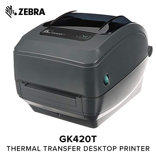 Zebra - GK420t Thermal Transfer Desktop Printer for Labels, Receipts, Barcodes, Tags, and Wrist Bands - Print Width of 4 in - USB and Ethernet Port Connectivity