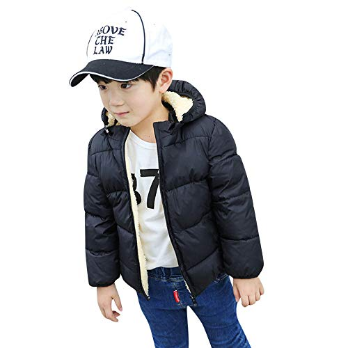 Clearance Sale ! Kids Baby Girls Boys Winter Hooded Coat Cloak Warm Thick Outerwear with Fur Lined Jackets (Black, 6-7T)