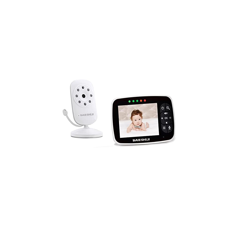 Baby Monitor, Video Baby Monitor 3.5″ Large LCD Screen, Baby Monitors with Camera and Audio Night Vision,Support Multi Camera,ECO Mode,Two Way Talk Temperature Sensor,Built-in Lullabies (3.5 inch)