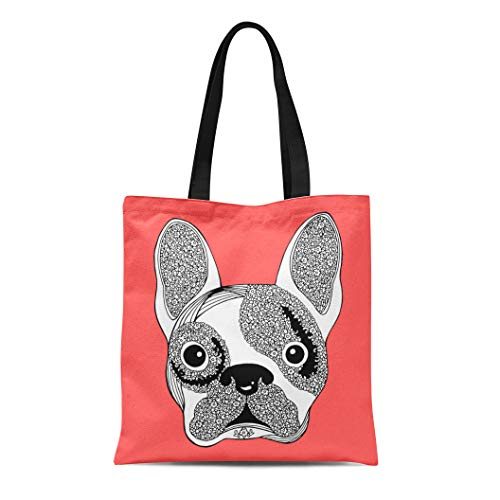 (Semtomn Canvas Bag Resuable Tote Grocery Adorable Shopping Portablebags Bull French Bulldog Sugar Skull Frenchie Cute Dog Design Abstract Animal Breed Natural 14 x 16 Inches Canvas Cloth Tote)