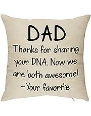 lxx8882021 Dad Sharing Your DNA مضحك رمي غطاء وسادة لأبي الرجال - هدايا عيد الميلاد الفريدة من نوعها من ابنة الابن طفل طفل - أفكار هدية عيد ميلاد لأبه