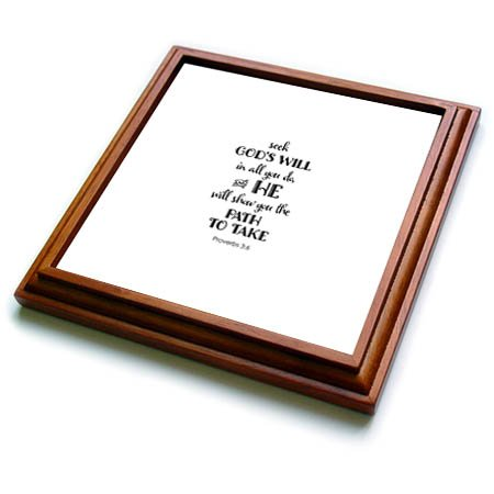 Tile Gods Will (3dRose Uta Naumann Sayings and Typography - Bible Proverb Motivational Typography - Seeks Gods Will In All - 8x8 Trivet with 6x6 ceramic tile (trv_275140_1))