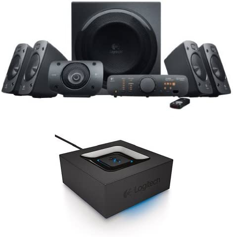Logitech Z906 Encompass Sound Speaker System Bundle with Bluetooth Audio Adapter
