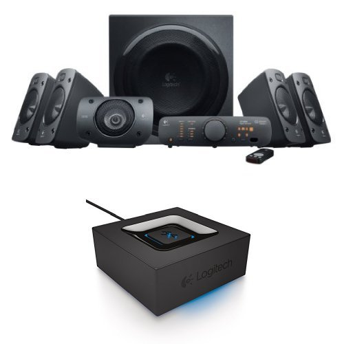 Logitech Z906 Wireless Surround Sound Speaker System Bundle with Bluetooth Audio Adapter
