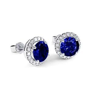 Jian London Halo - Pendientes de diamantes y zafiros de imitación (oro, plata, blanco, 2,7 ct)