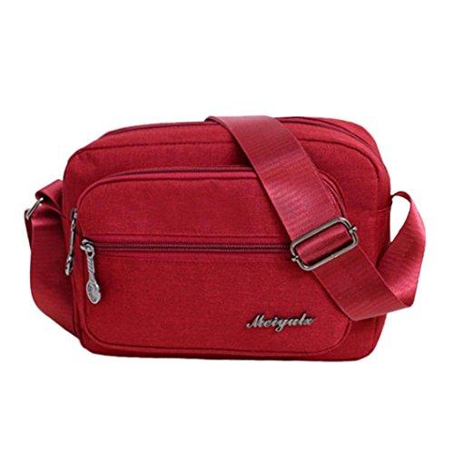 Color Zipper Red Shoulder Solid Crossbody Bag Women's Canvas Bag Iw1zz4q