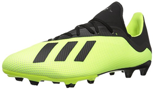 adidas Men's X 18.3 Firm Ground Soccer Shoe, Solar Yellow/Black/White, 9.5 M US