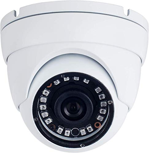 Real HD 1080P Dome HD Analog Outdoor Security Camera (Quadbrid 4-in1 HD-CVI/TVI/AHD/Analog), 2MP 1920×1080, 65ft Night Vision, Metal Housing, 3.6 mm Lens 90 Degree Wide Viewing Angle, White