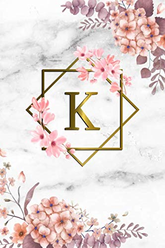K: Cute Initial Monogram Letter K College Ruled Notebook. Pretty Personalized Medium Lined Journal & Diary for Writing & Note Taking for Girls and Women - Grey Marble & Gold Pink Floral Print