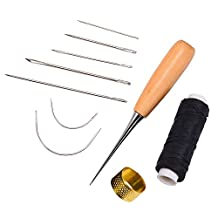 Outus 7 Pieces Sewing Needles with Leather Waxed Thread Cord Drilling Awl and Thimble for Leather Repair